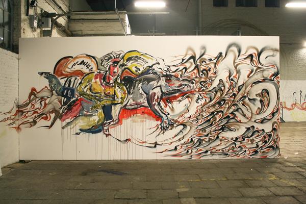 Manège de sury. Mural espontáneo de André Houflin y Obêtre. Foto: Obêtre.