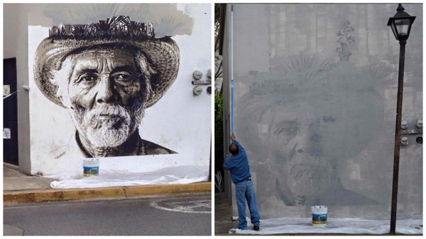 El Mezcalero. Mural del colectivo Lapiztola eliminado en la ciudad de Oaxaca por presiones del gobierno local.