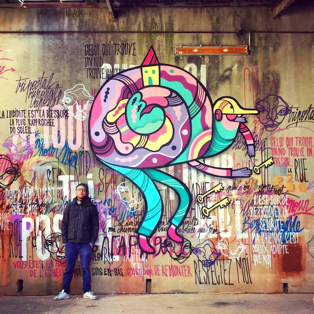 L'Escargot. Mural de Pablito Zago en un lugar de acogida de personas sin techo. Las frases en el mural son de los usuarios.