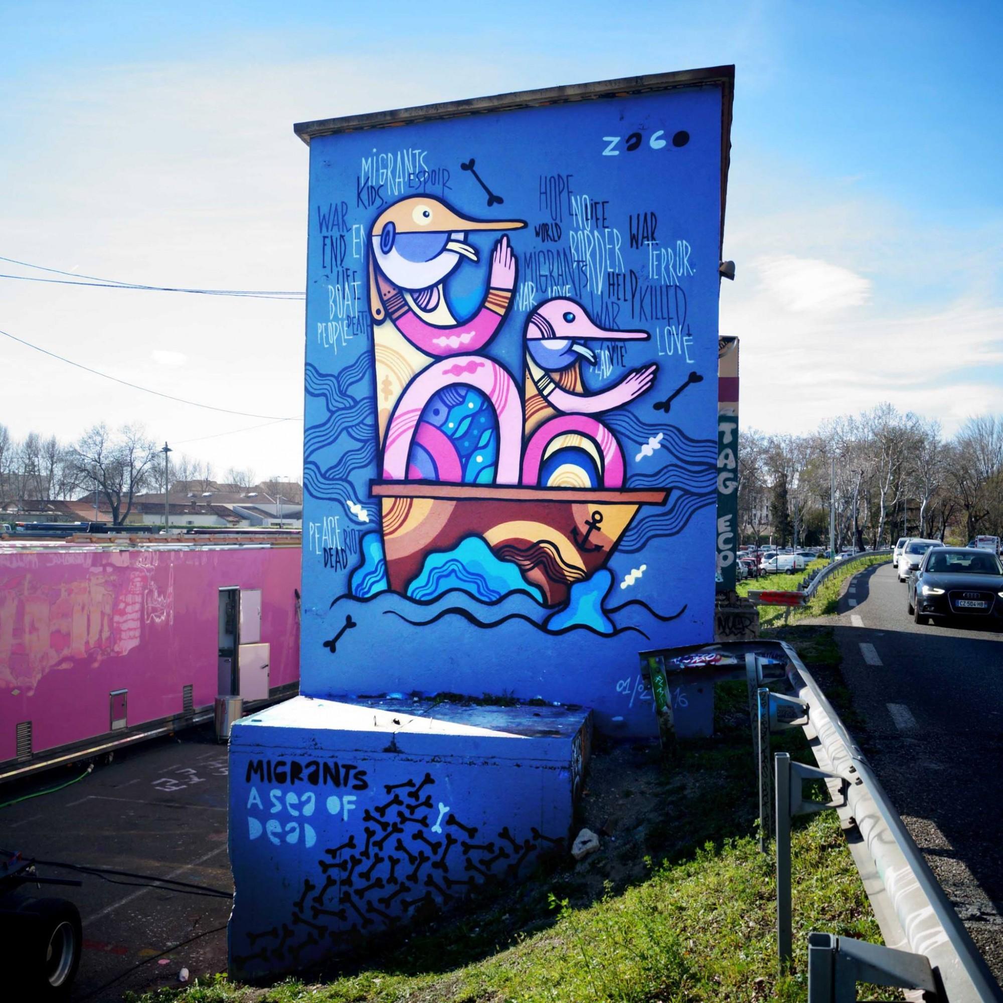 Migrantes-Sea of Dead. Mural de Pablito Zago en Aviñón que aborda la crisis de refugiados en Europa.