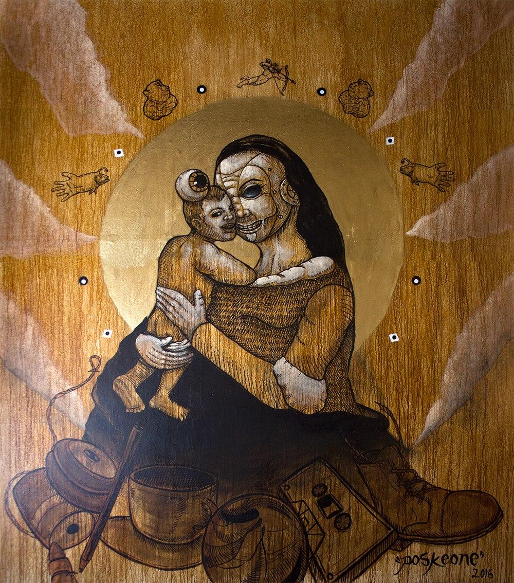 Bodega de memorias. Mural en la galería Casa Talabera de la Ciudad de México. Foto: Cortesía de Posk.