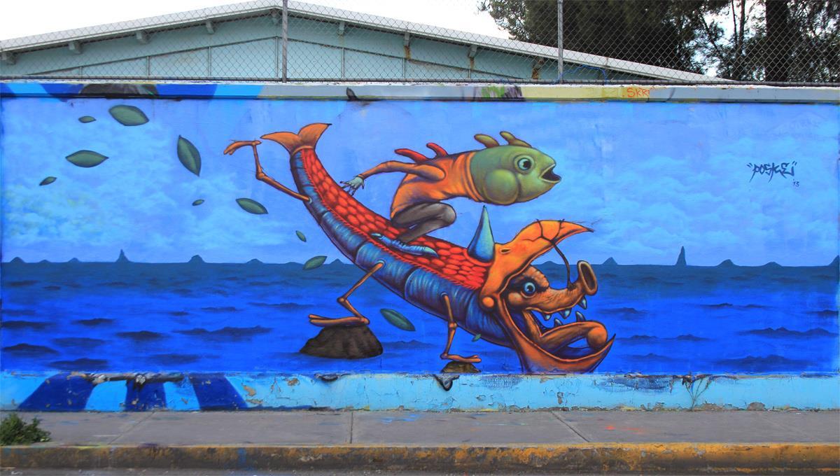 El origen del mundo. Mural de Posk en Ciudad Netzahualcoyotl, México. Foto: Cortesía de Posk.