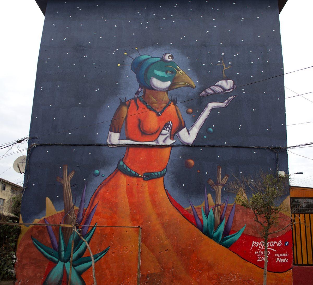 Mujer, tierra y vida. Mural de Posk en Santiago de Chile. Foto: Cortesía de Posk.