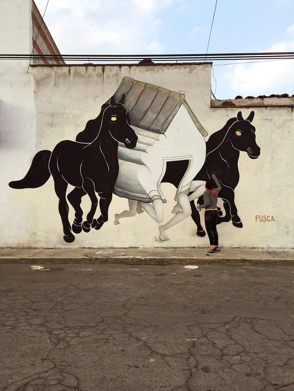 La Fuga. Mural de Fusca.
