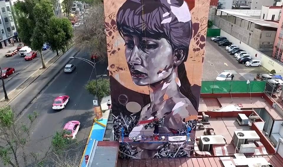 Mural de Sierrah en la Ciudad de México.