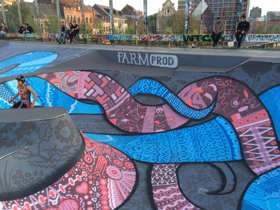 Skatepark de Bruselas. Arno Debal con Farm Prod.