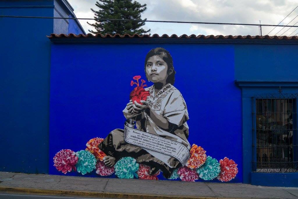 Mural de lapiztola borrado por el municipio de Oaxaca.