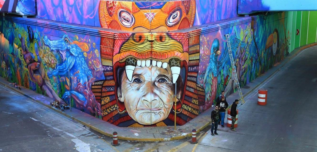 Mural en el túnel de Caseros de Martin Ron en colaboración con THG (Bater, Tekas y Heis) y JIANT. Foto: Alejandra Leston