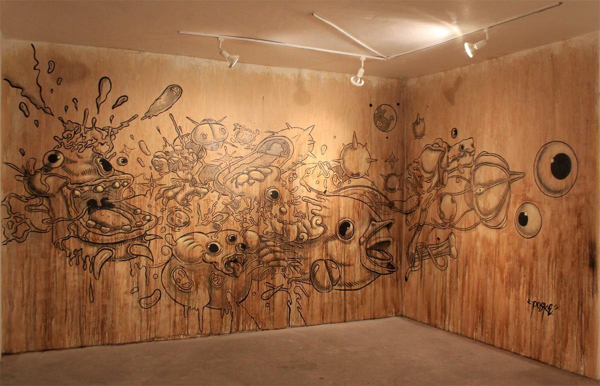 El origen del universo. Mural en el Centro Cultural Border de la Ciudad de México. Foto: cortesía de Posk.