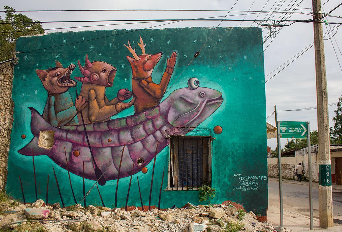 hacia el futuro. Mural de Posk en Bacalar, Quintana Roo, México. Foto: Cortesía de Posk.
